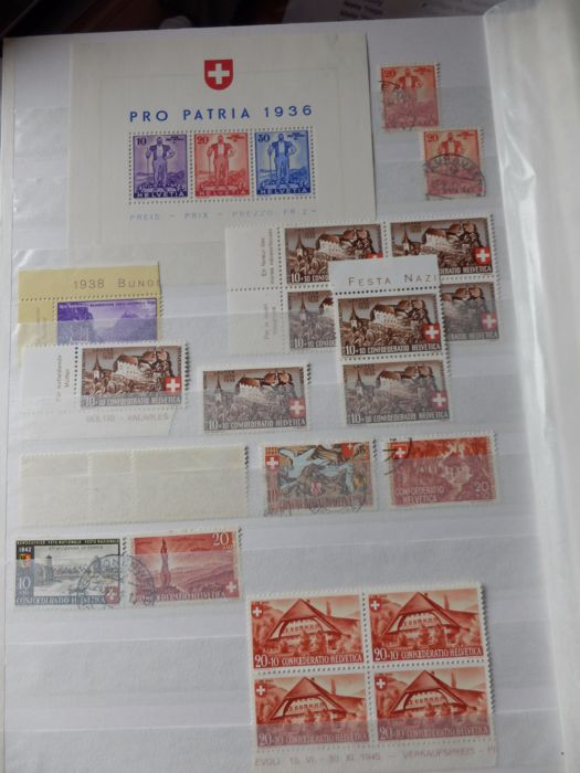 Helvetia - Pro Patria 1936, postage stamps, cancelled blocks