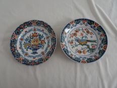 Tichelaar - 2 plates with multicoloured decor, 1 with floral and 1 with bird and floral decor