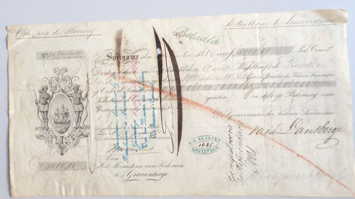 Suriname; Promissory note to buy the freedom of slaves in Suriname - 1863