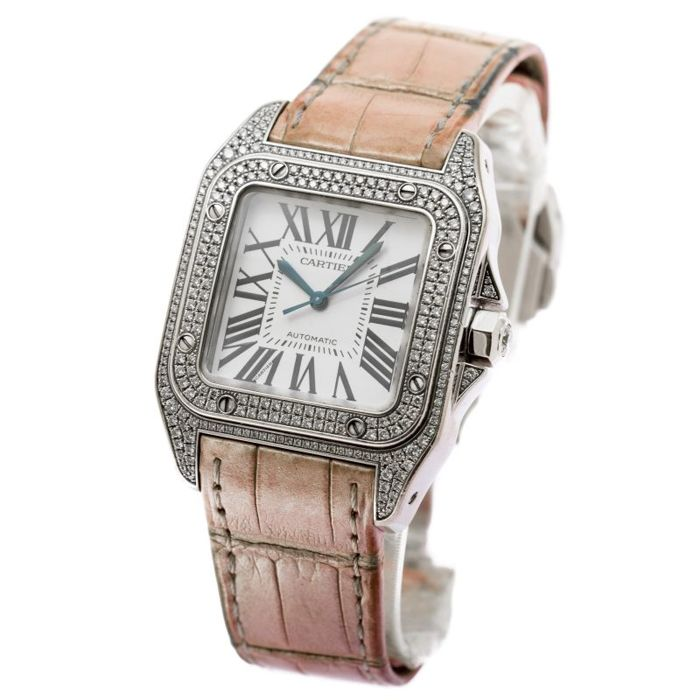 Cartier - Cartier Santos 100 Medium Size In 18K White Gold  - 2881 - Women - 2000-2010