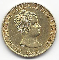 Spain - Isabel II - 80 reales 1844 - Barcelona PS - Gold