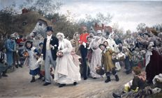 The Village Wedding, Date Samuel Luke Fields 1844-1927