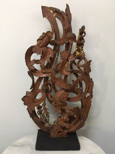 Wooden Lacquer carving. Mandalay period - Burma - 19th century.