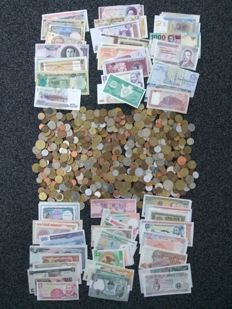 World – Batch of various coins (approx. 600) and 100 banknotes