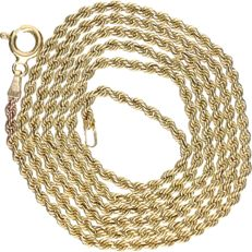 8 kt – Yellow gold twisted link necklace – Length:  58.5 cm