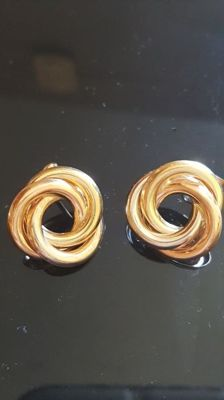 Pair of intertwined hoop earrings in 18 kt yellow, white and rose gold, 750% hallmark