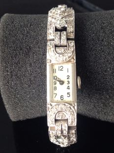 Women's bracelet watch with diamond.