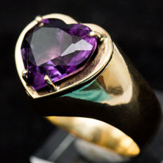 Gold Ring, gold 18k, with Amethyst