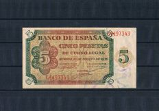Spain - 5 Pesetas 1938 - Series L - Pick 110a