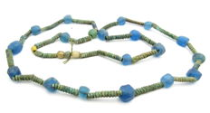 Medieval Viking period Necklace with Coloured Glass and Bronze Beads - 800 mm