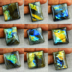 Best Flash Genuine  Labradorite Gemstones lot - 545.50 cts (9)