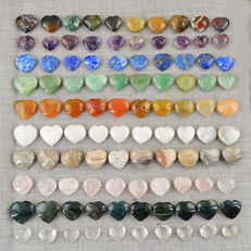 Fine Genuine Heart Shaped Mixed Gemstones lot - 1844 cts (100 pcs)