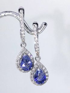 14 kt white gold Earrings with 2 pear-shaped exclusieve Sri Lanka sapphire  and 54  brilliant-cut diamonds totaal 0.50 ct