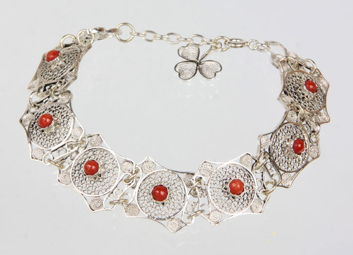 Antique silver, filigree bracelet with coral