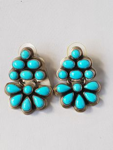 Navajo earrings with turquoise (sleeping beauty) - handmade by master Geneve - never worn