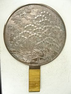 Bronze hand mirror - signed by Morisada - Japan - Meiji period (1868-1912)