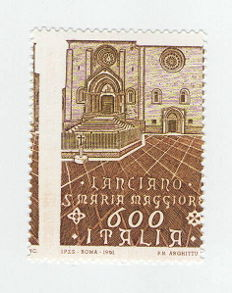 Italian Republic, 1991 - Artistic and Cultural Heritage, 600 Lire, with shifted vertical perforation - Sass. Spec.  No. 1596Ea