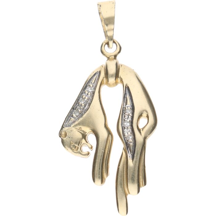 14 kt yellow gold panther pendant set with 6 diamonds of approx. 0.005 ct each, in a white gold setting - Size: 26 x 14.4 mm