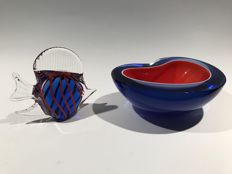 Murano - Sommerso Red & Blue Cased Glass Bowl with matching Glass Fish