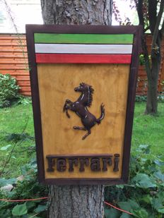 Ferrari  80 cm x 49cm 6cm  Large unique handmade sculpting logo made from wood