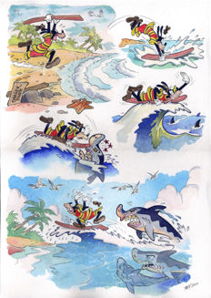 Vives Mateu, Xavier - Original watercolour drawing - Goofy goes Surfing
