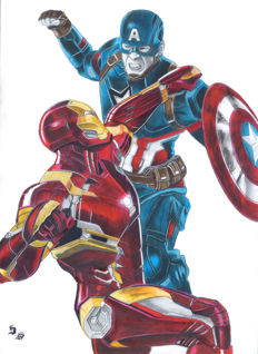 Diego Septiembre - Original Drawing - Iron Man And Captain America