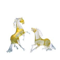 Giuman Murano - Pair of glass horses, entirely in 24 kt gold leaf