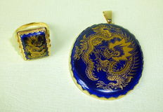 Set consisting of ring and pendant, Meissen porcelain circa 1985