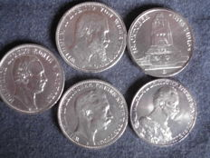 German Empire – 5 x 3 mark silver coins