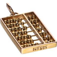 14 kt - Yellow gold pendant in the shape of an abacus - Length x width: 2.3 x 1 cm
