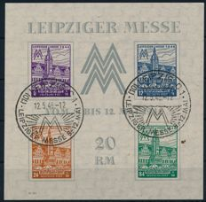 "Soviet zone – 1946 – ""Leipzig Trade Fair with watermark steps flat falling"" – Michel block 5x"
