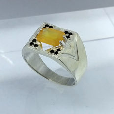 Yellow Sapphire 2.45ct  Men's Ring 925 silver - size 11