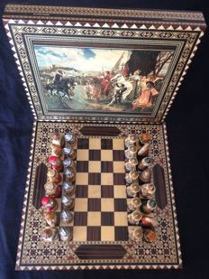 Vintage chess set, Moors and Christians on board of marquetry wood and box with image