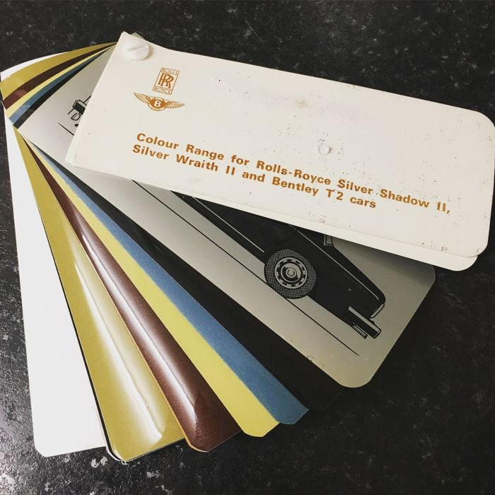 Rolls Royce & Bentley Colour Range Swatch Brochure Silver Shadow II Silver Wraith II & Bentley T2 Cars Rare