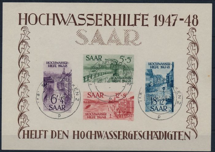 Saarland 1947 - Flood relief block issue - Michel 1 -2  mit Fotoattest Geigle/Ney BPP