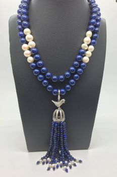 "Lapis Lazuli tassel necklace with cultured freshwater pearls and 925 sterling silver "" bird in cage "" in white topazes - no reserve price"
