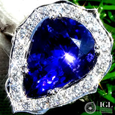 Purple Blue Tanzanite And Diamond ring Cocktail in 18 kt white gold 6.25 ct – Certified –  Size 6.5 (US) - No Reserve