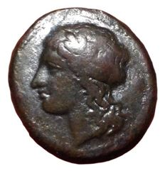 The Greek Antiquity - Sicily, Syracuse, Timoleon and the Third Democracy circa 334-317 BC - Æ  (Bronze, 19mm, 5,31g.), c. 344-338 BC - Head of Apollo / Pegasos  - CNS 85