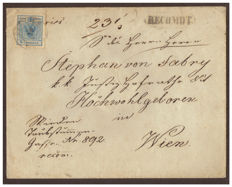Austria 1850 – 9 kr, light blue, and 6 kr, brown, used on the front and back of a registered letter for Vienna; 6 kr. brown, on letter from Martinsberg.