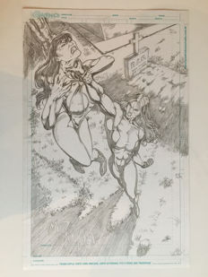 Original Pencil Drawing By Max Duarte - She-Hulk Fighting Vampirella - (2016)