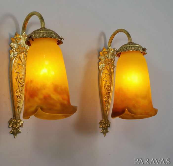 MULLER FRERES pair Art Deco wall lights, sconces