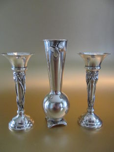 James Deakin & Sons - a set of Art Nouveau vases and silver vase with butterfly