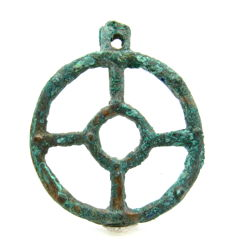 """Ancient Roman bronze open work pendant shaped as wheel - """"the Wheel of Fortune"""" - 68 mm"""