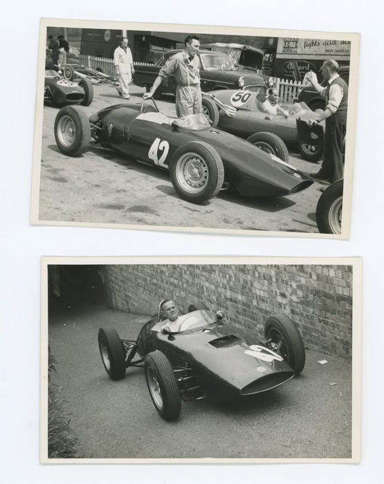 4 Period black and white BRM Pits 1960s  Brands Hatch  photographs