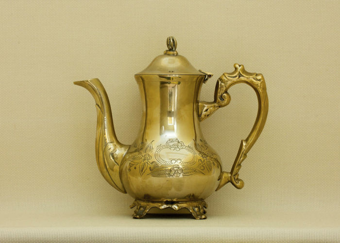 Antique Victorian Brass Teapot, silver plated on the inside