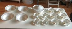 Royal Albert Val D'or porcelain - 14 cups and saucers, 4 soup dishes, 1 tureen