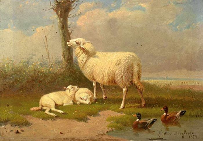 A.J. van Dieghem (1843 - 1885) - Scheep and ducks in a meadow