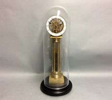 Skeleton clock fusee movement, under glass bell jar – mid 20th century