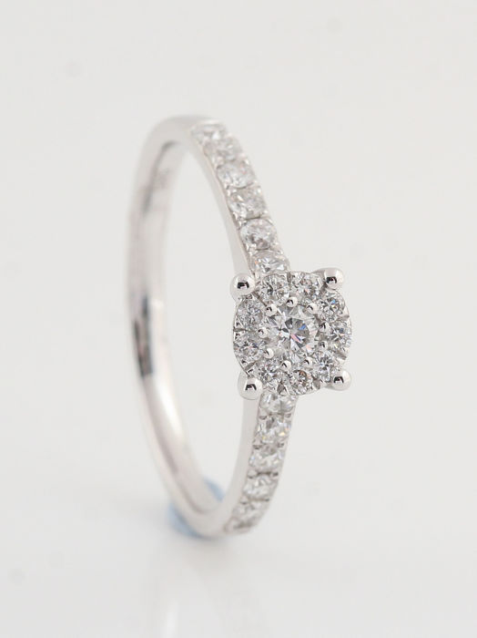 14 kt white gold diamond ring 0.47 ct - 2.10 g - Size 54 - G-H - VVS2-VS2 - New