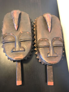 Set of two wooden African masks - wood carving - Africa - Ghana - second half of the 20th century